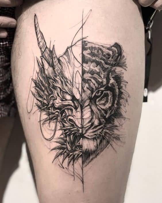 Two face tattoo for woman